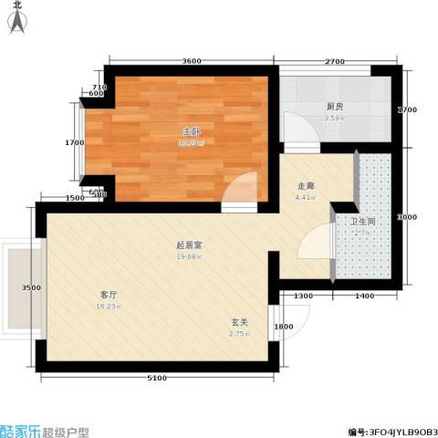翰林17坊1室0厅1卫1厨56.00㎡户型图