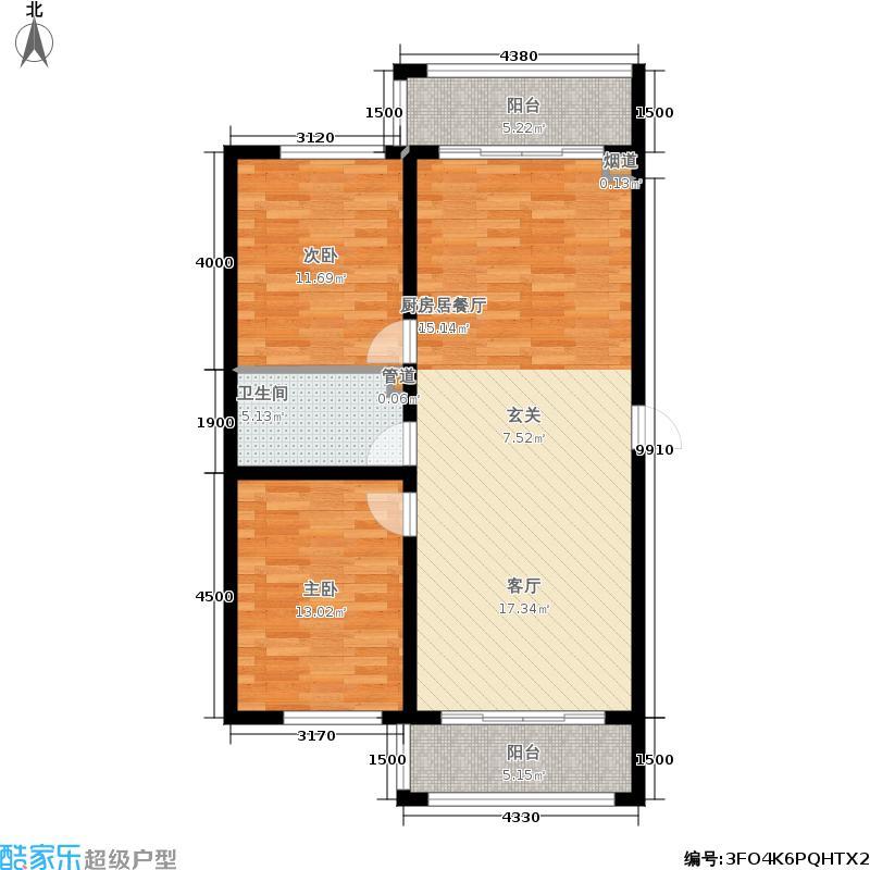 富佳新天地G户型2室2厅1卫 使用面积71.06平米户型2室2厅1卫