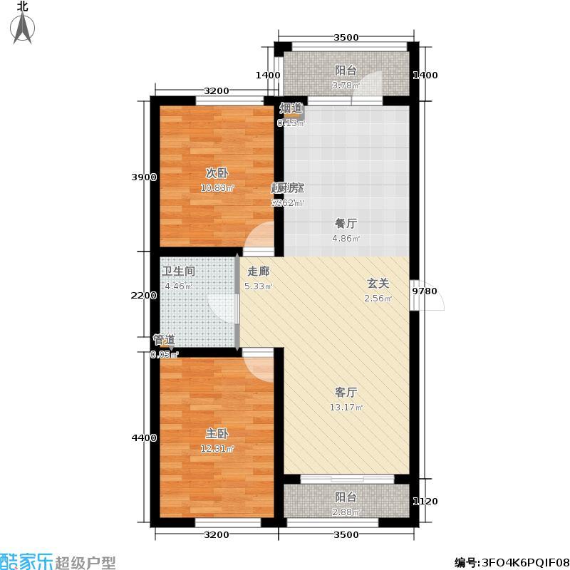 富佳新天地F户型2室2厅1卫 使用面积62.18平米户型2室2厅1卫