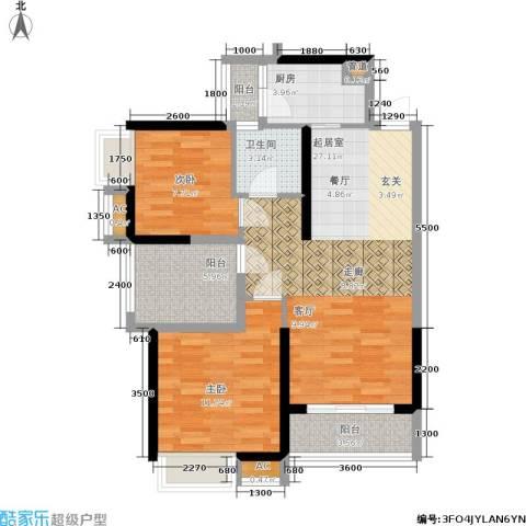 安鸿景苑2室0厅1卫1厨76.69㎡户型图
