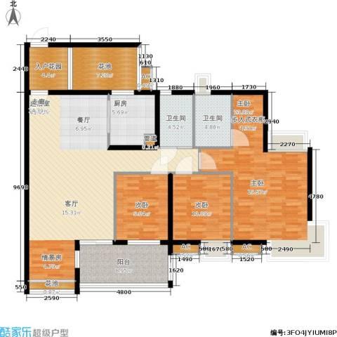 万科天景花园3室0厅2卫1厨140.00㎡户型图