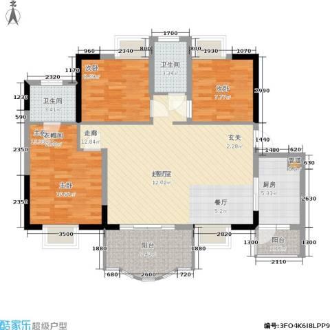 华轩桃花源3室0厅2卫1厨115.00㎡户型图