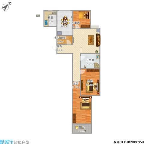 百家新城3室2厅1卫1厨135.00㎡户型图