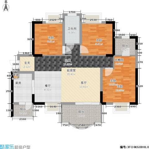 华轩桃花源3室0厅1卫1厨118.00㎡户型图