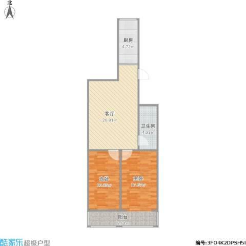 梅苑小区2室1厅1卫1厨78.00㎡户型图
