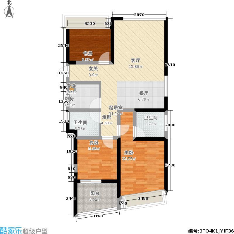 楚天都市雅园119.97㎡2A-4户型3室2厅