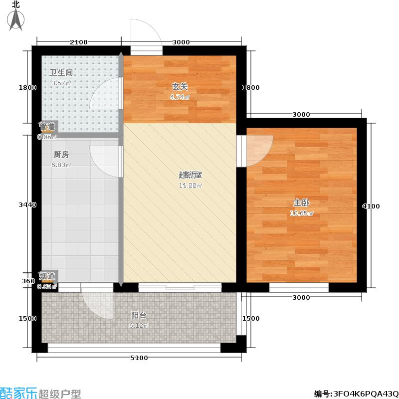 富佳新天地B户型1室1厅1卫 使用面积37.34平米户型1室1厅1卫