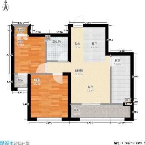 富佳新天地2室0厅1卫1厨76.00㎡户型图