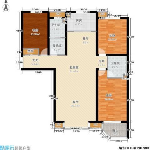 绿都皇城3室0厅2卫1厨169.00㎡户型图