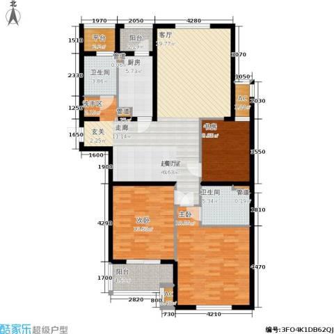 华都・金色兰庭3室0厅2卫1厨126.00㎡户型图