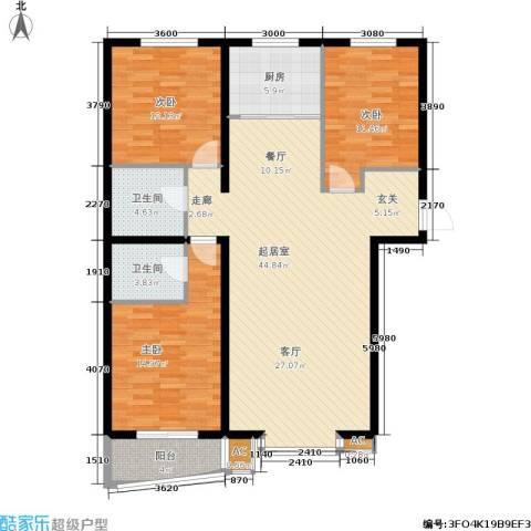 绿都皇城3室0厅2卫1厨144.00㎡户型图