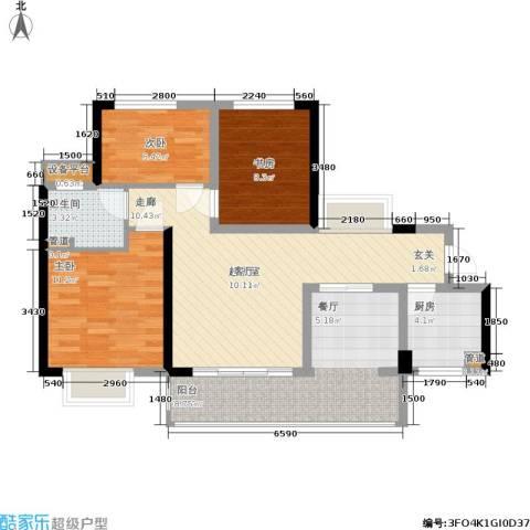 龙光城3室0厅1卫1厨91.00㎡户型图