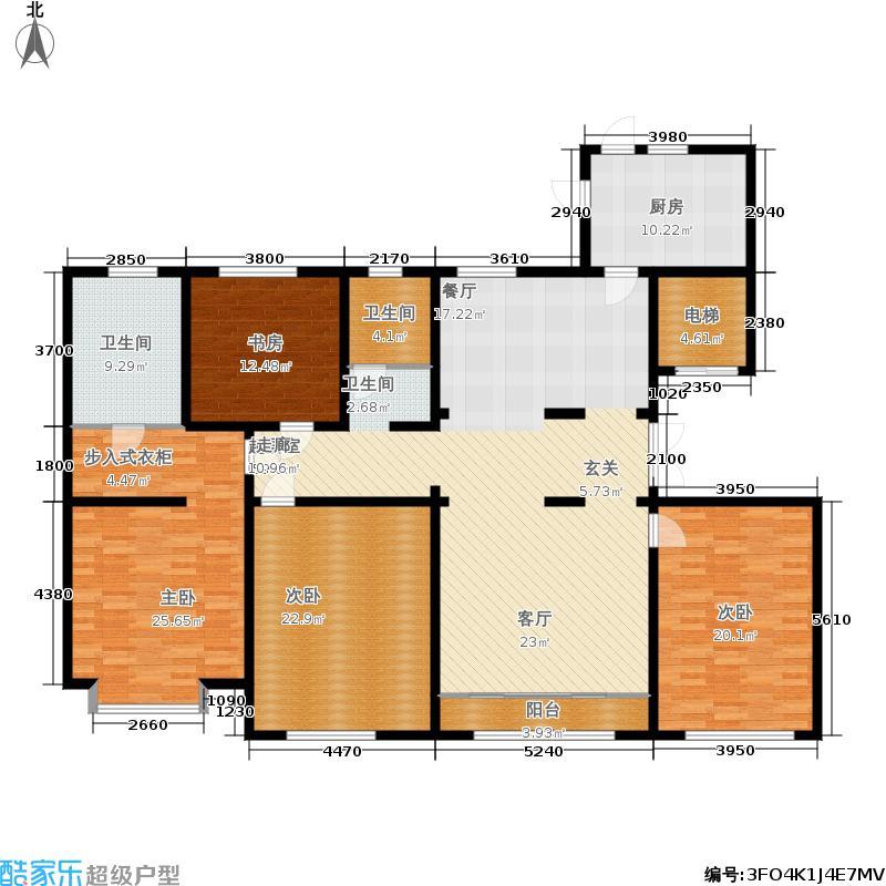 中海八里臺195.00㎡8号楼标准层D户型4室2厅