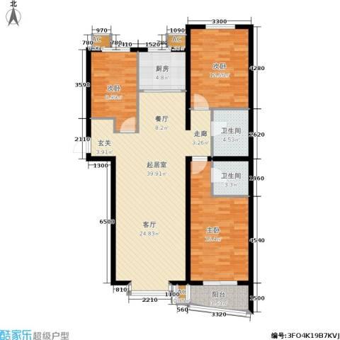 绿都皇城3室0厅2卫1厨134.00㎡户型图