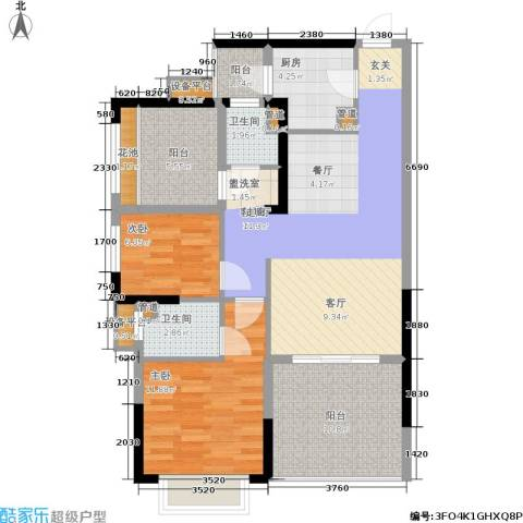 龙光城2室1厅2卫1厨89.00㎡户型图