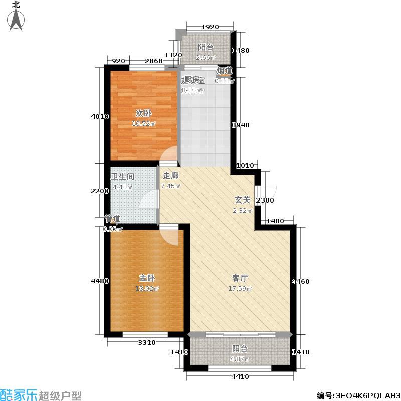 富佳新天地项目使用面积62.97平米户型图户型2室1厅1卫