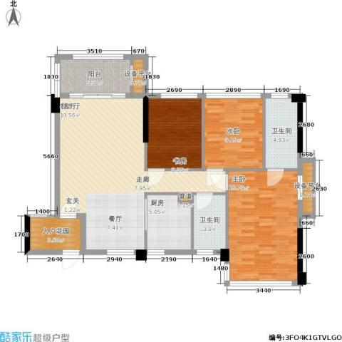 冠亚国际星城3室1厅2卫1厨108.00㎡户型图