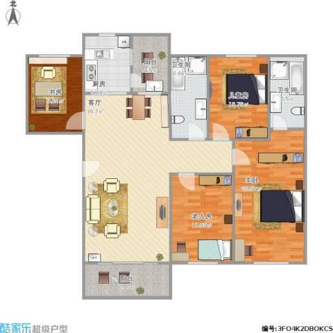 百盈花园4室1厅2卫1厨157.00㎡户型图