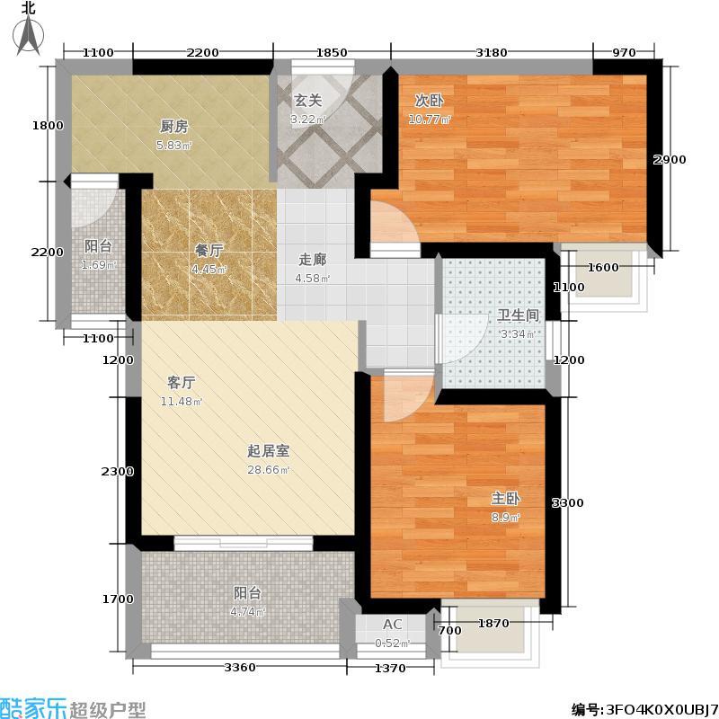 海伦国际87.22㎡F-2户型2室2厅