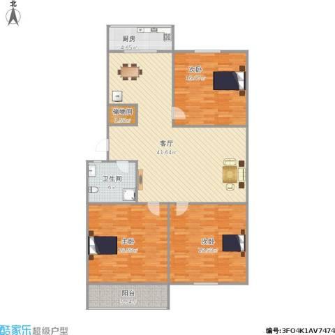 汇统花园3室1厅1卫1厨152.00㎡户型图