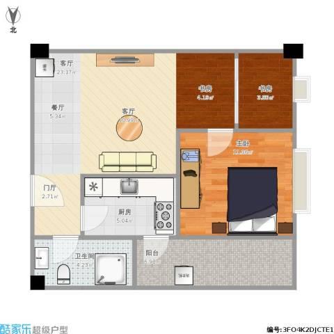 枫丹国际公寓2室1厅1卫1厨74.00㎡户型图