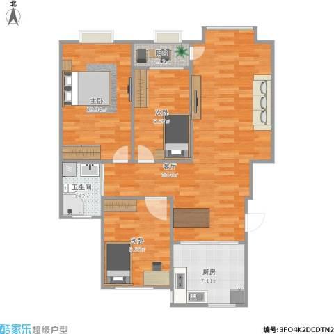 山水文苑3室1厅1卫1厨100.00㎡户型图