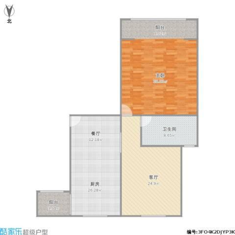 东方康德家园1室1厅1卫1厨134.00㎡户型图