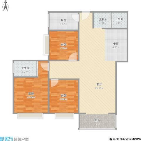 辰龙广场3室1厅2卫1厨115.00㎡户型图