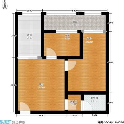 香格里拉尚城2室1厅1卫1厨71.00㎡户型图