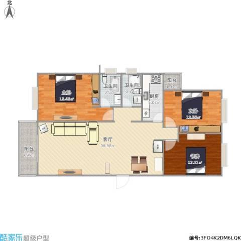 新华大街121号院3室1厅2卫1厨131.00㎡户型图