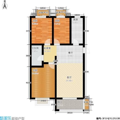 香格里拉尚城3室0厅1卫1厨87.00㎡户型图