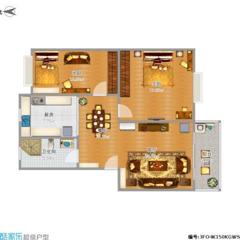 金港花园2室1厅1卫1厨100.00㎡户型图