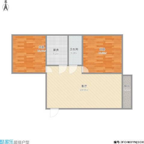 银泉花园2室1厅1卫1厨78.00㎡户型图