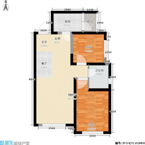 国润城2室1厅1卫1厨70.00㎡户型图