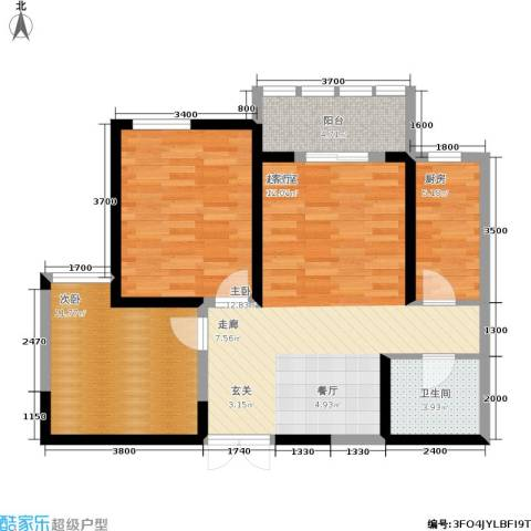 汉庭香榭2室0厅1卫1厨93.00㎡户型图