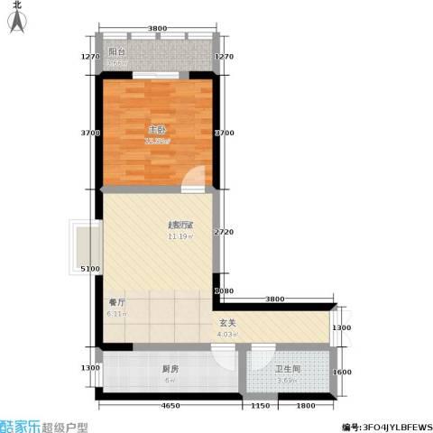 汉庭香榭1室0厅1卫1厨69.00㎡户型图
