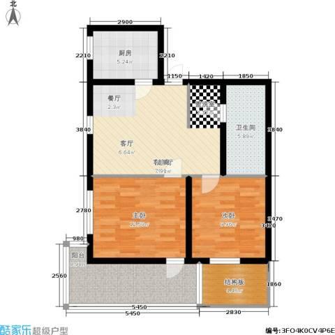 泰和苑2室1厅1卫1厨77.00㎡户型图