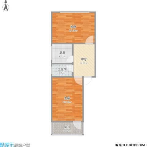 凤凰西街小区2室1厅1卫1厨56.00㎡户型图