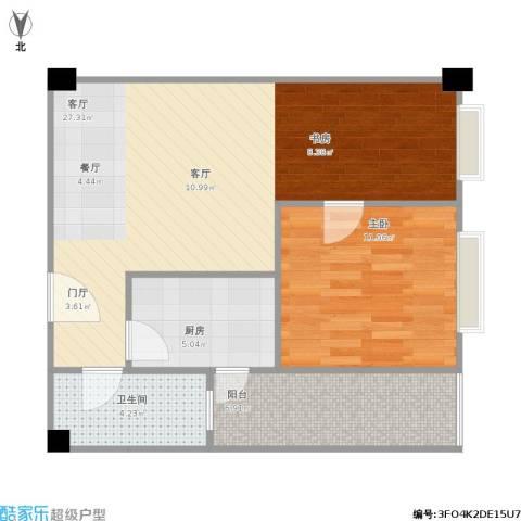 枫丹国际公寓1室1厅1卫1厨74.00㎡户型图