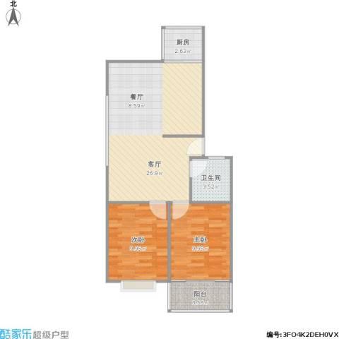 南苑澄园2室1厅1卫1厨76.00㎡户型图