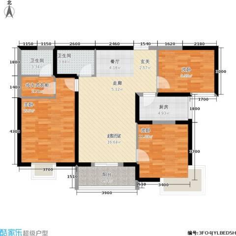 汉庭香榭3室0厅2卫1厨121.00㎡户型图