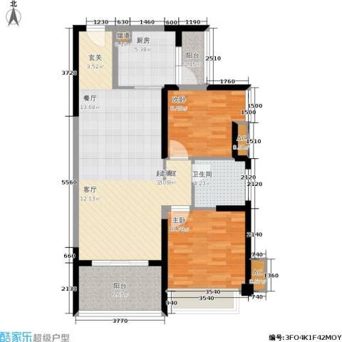 誉珑湖滨2室0厅1卫1厨81.00㎡户型图