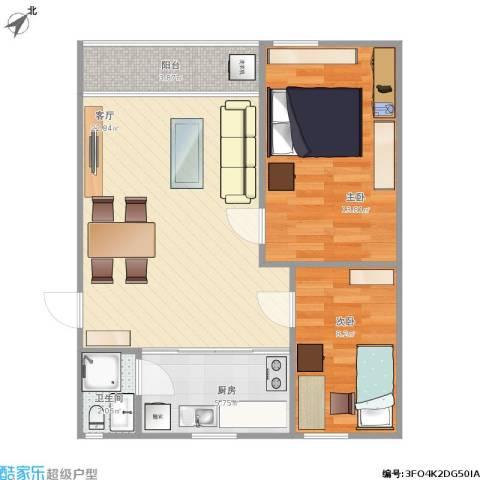 金侨花园2室1厅1卫1厨76.00㎡户型图
