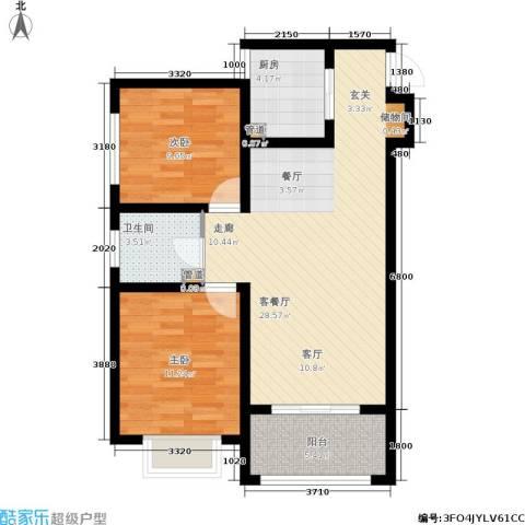 太奥广场2室1厅1卫1厨80.00㎡户型图