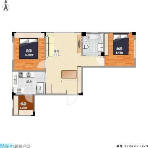 辽阳第一城3室1厅1卫1厨79.00㎡户型图