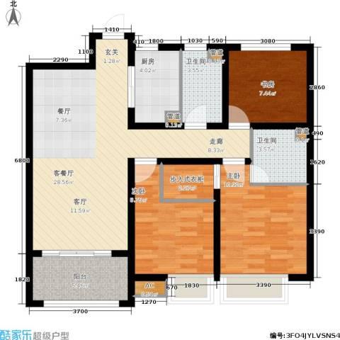 太奥广场3室1厅2卫1厨102.00㎡户型图