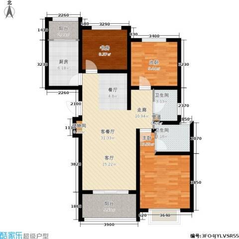 太奥广场3室1厅2卫1厨108.00㎡户型图