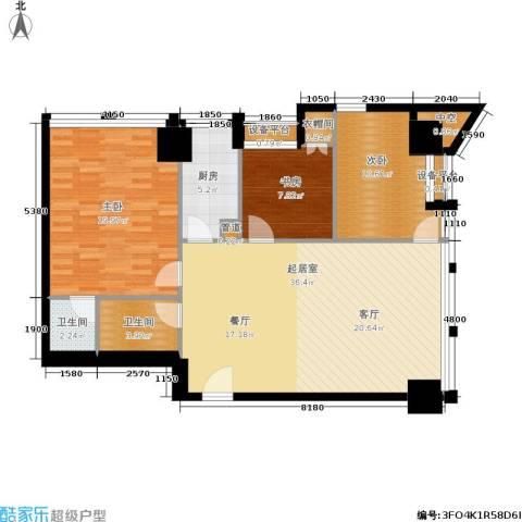 中基国际公馆3室0厅2卫1厨128.00㎡户型图