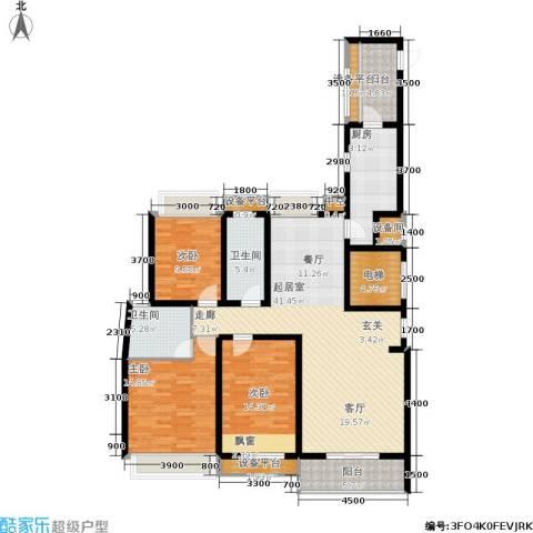 华鼎君临阁3室0厅2卫1厨150.00㎡户型图