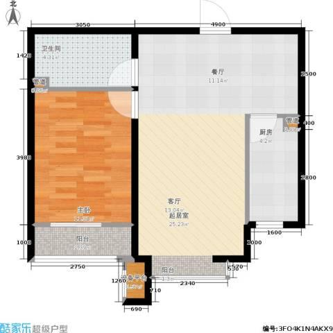 诚安逸品花园1室0厅1卫1厨67.00㎡户型图